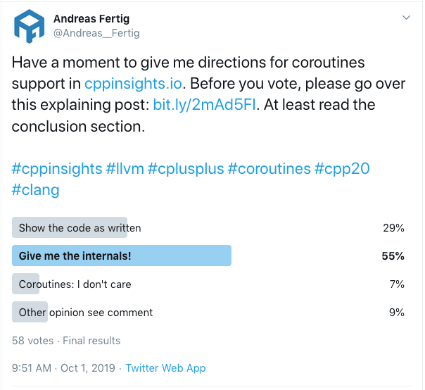 C++ Insights Coroutines Twitter Poll Result